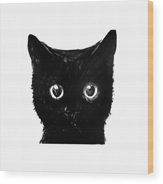 Cat Wood Print featuring the painting Black Cat by Pechane Sumie