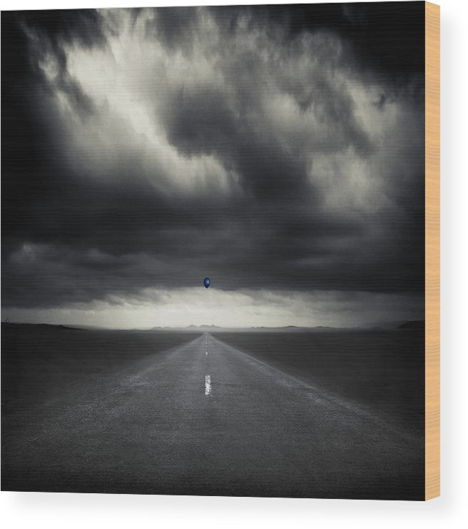 Monochrome Wood Print featuring the photograph Blue Balloon by Dirk Wuestenhagen