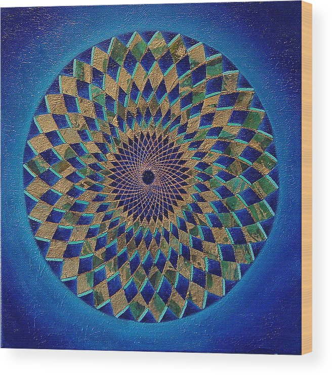 Mandala Wood Print featuring the painting Blue Green Planet by Charlotte Backman