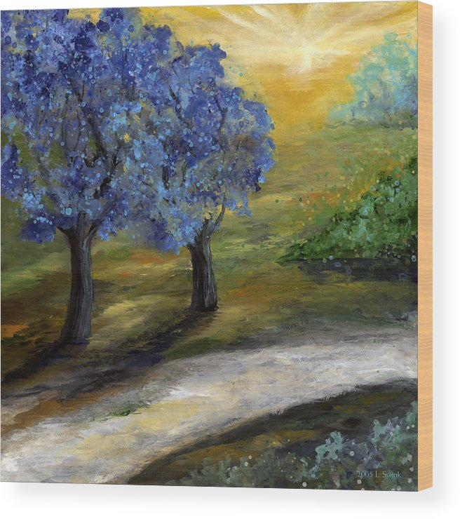 Trees Wood Print featuring the painting Blue Trees by Laura Swink