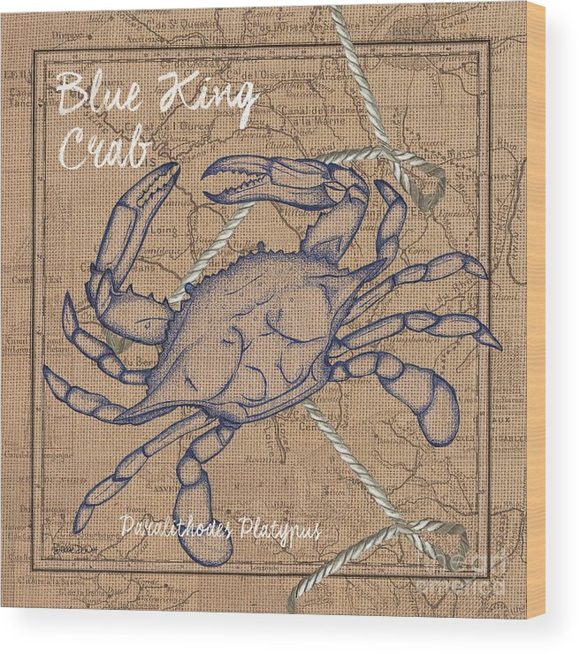 Blue Crab Wood Print featuring the painting Burlap Blue Crab by Debbie DeWitt