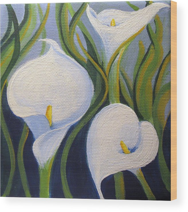 Calla Wood Print featuring the painting Calla by Sharon Marcella Marston