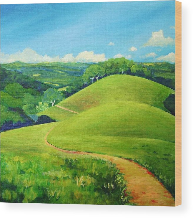 Landscape Wood Print featuring the painting Canada Del Oro Ridge by Stephanie Maclean