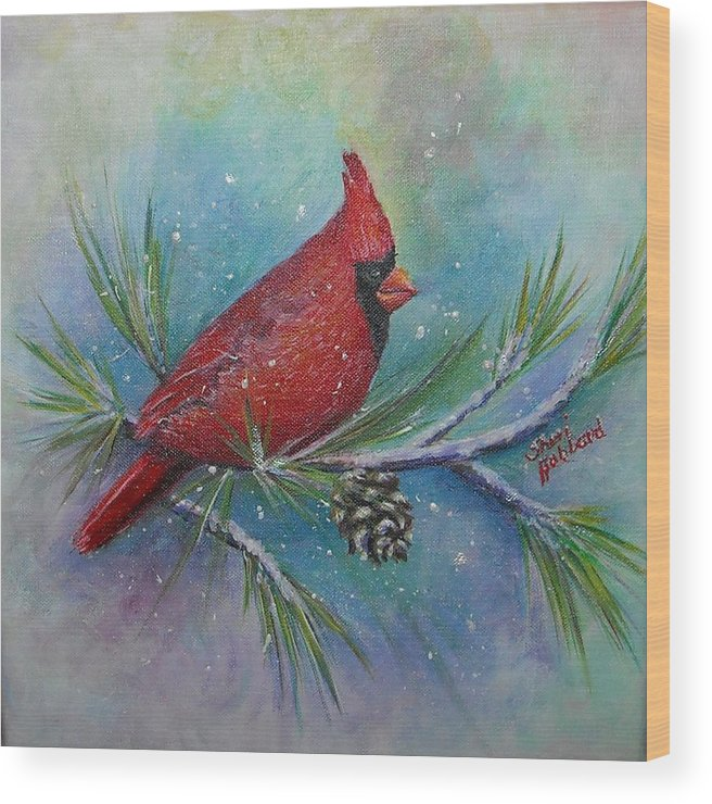 Red Wood Print featuring the painting Cardinal And Delta Snow by Sheri Hubbard