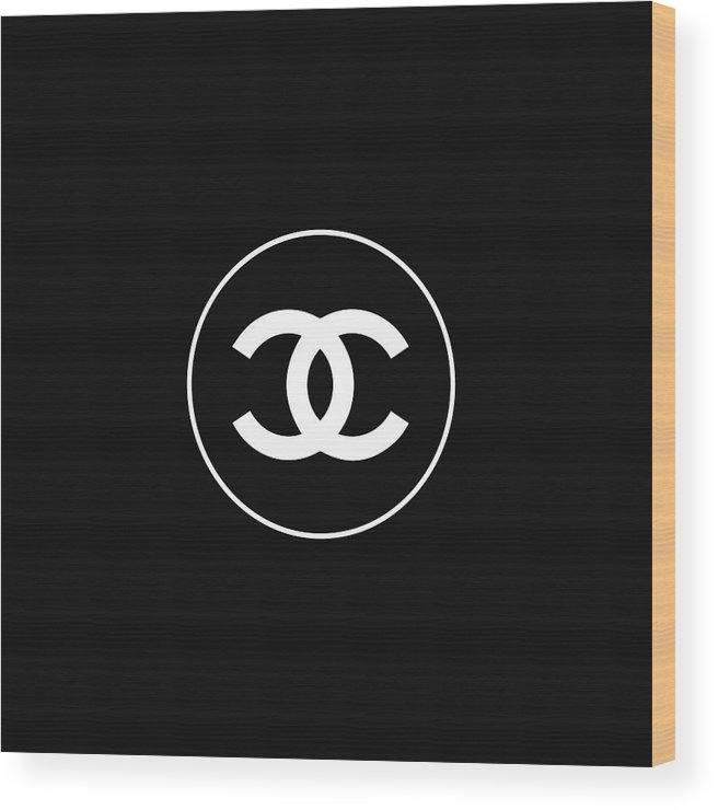 Chanel Logo Wood Print featuring the digital art Chanel - Black And White 02 - Lifestyle And Fashion by TUSCAN Afternoon