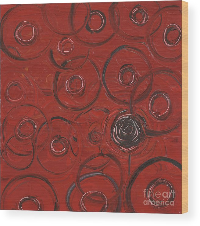 Red Wood Print featuring the painting Choices In Red by Nadine Rippelmeyer
