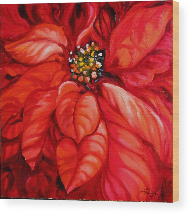 Red Wood Print featuring the painting Christmas Poinsettia by Marcia Baldwin