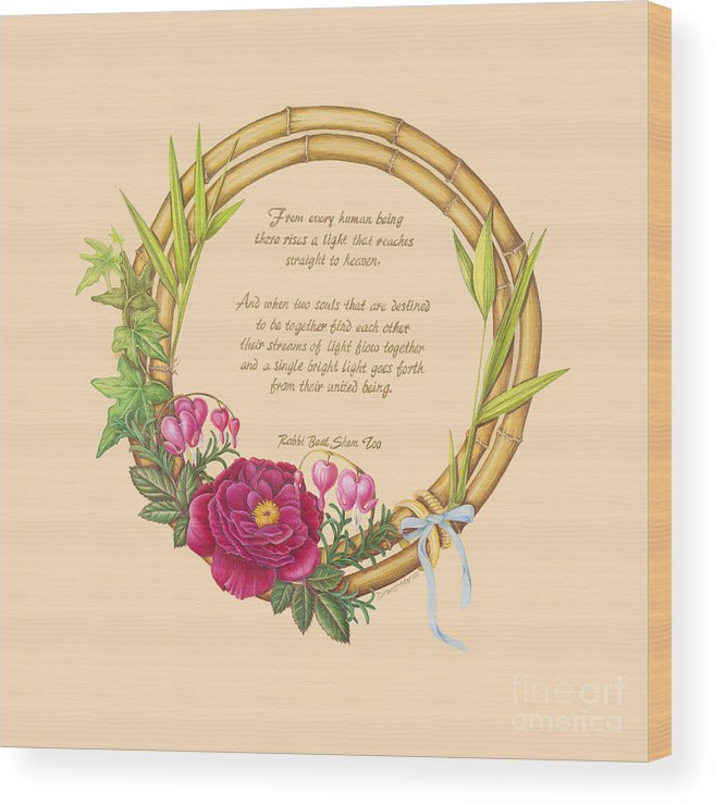 Wreath Wood Print featuring the painting Circle Of Love by Diane Harm