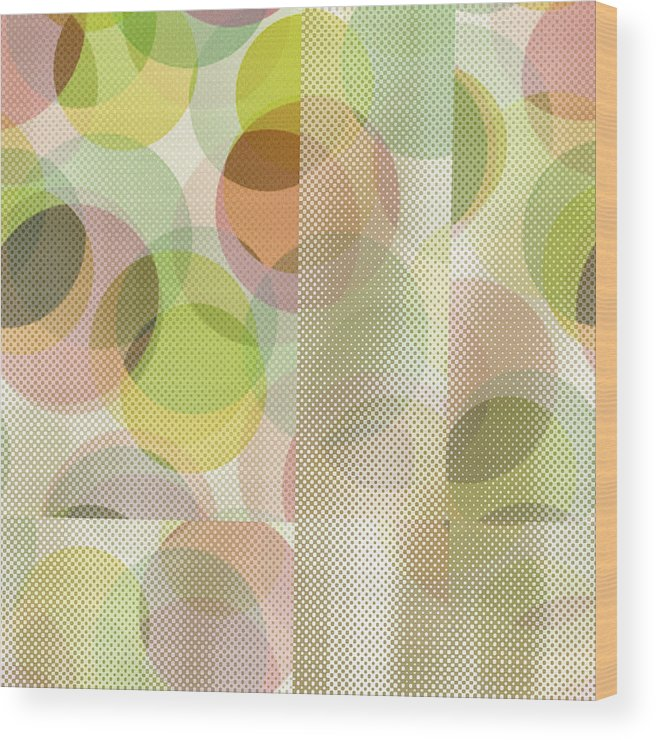 Abstract Wood Print featuring the digital art Circle Pattern Overlay II by Ruth Palmer