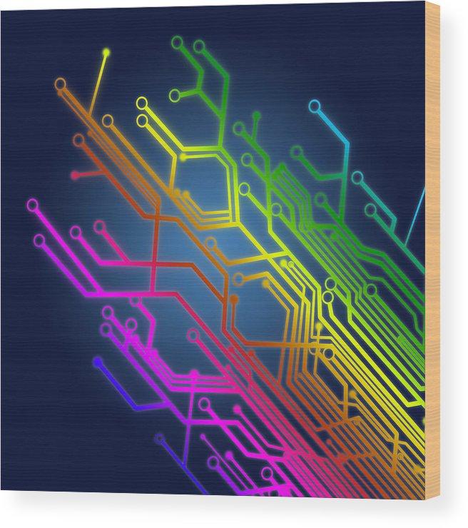 Abstract Wood Print featuring the photograph Circuit Board by Setsiri Silapasuwanchai
