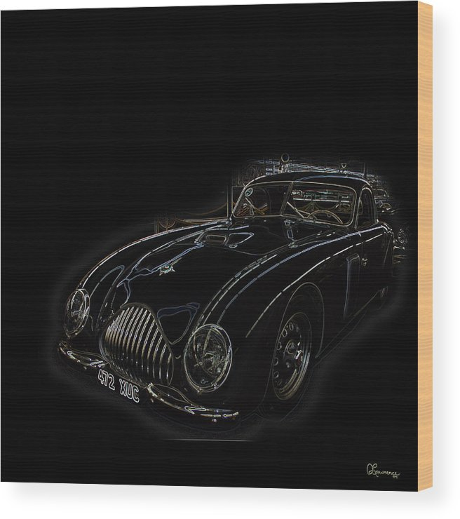 Classic Car Antique Show Room Vehicle Glowing Edge Black Light Chevy Dodge Ford Ride Wood Print featuring the photograph Classic 2 by Andrea Lawrence