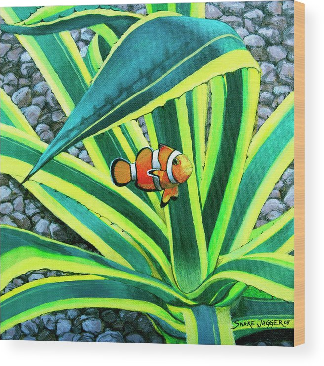 Fish Wood Print featuring the painting Clownfish by Snake Jagger
