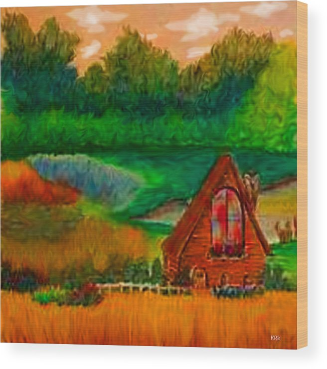 Landscape Wood Print featuring the drawing Country by Karen R Scoville