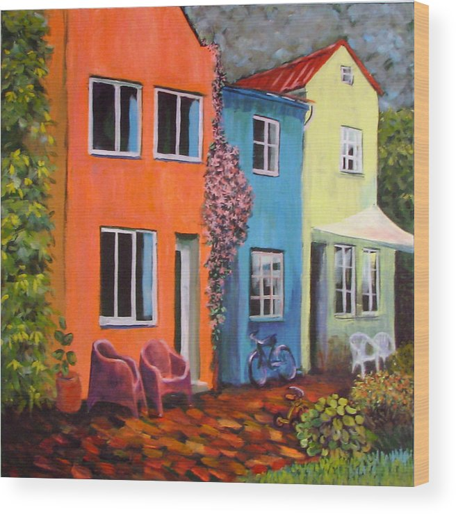 Cozy Wood Print featuring the painting Cozy Street by Art Nomad Sandra Hansen