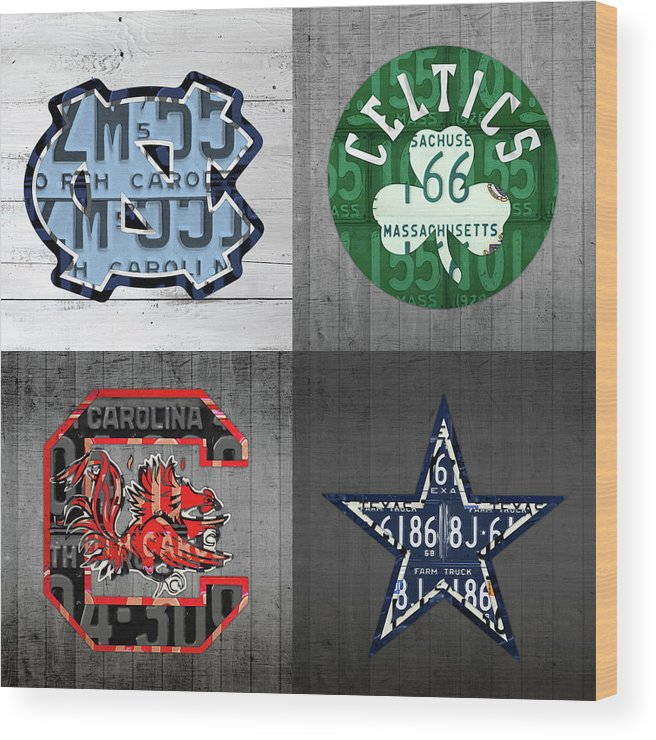 Unc Wood Print featuring the mixed media Custom 4 Team License Plates Sport Art No 1 by Design Turnpike
