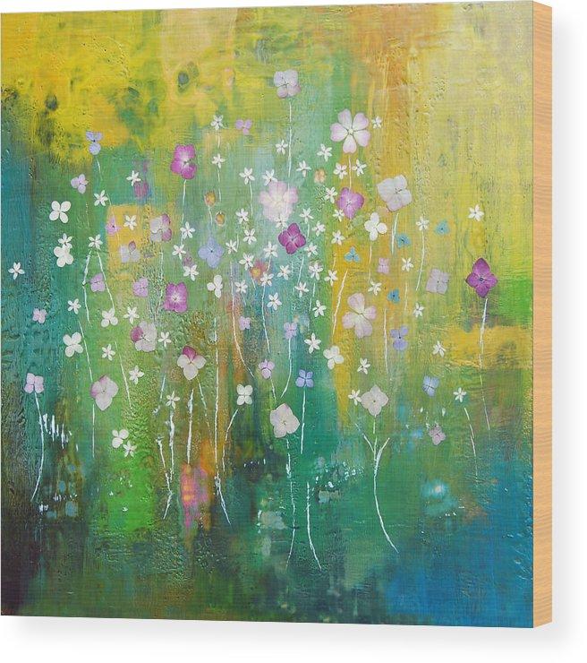 Abstract Wood Print featuring the painting Dancing Wildflowers Series by Joya Paul