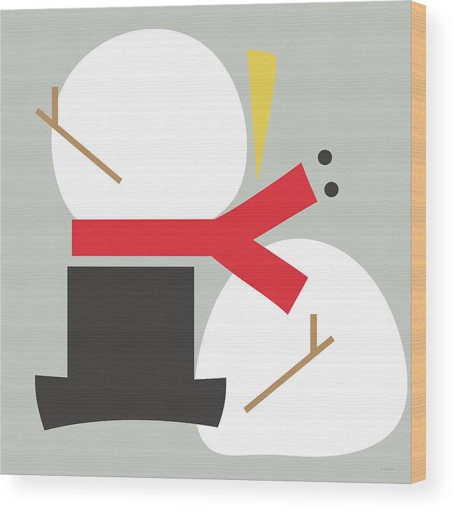Snowman Wood Print featuring the digital art Deconstructed Snowman- Modern Art By Linda Woods by Linda Woods