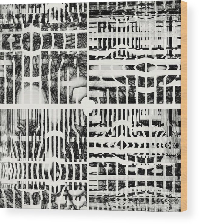Abstract Wood Print featuring the digital art Discussing Possible Futures by Ian Duncan Anderson