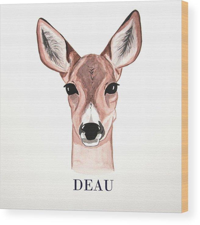 Doe Wood Print featuring the painting Doe Deer by Dominique Janssens
