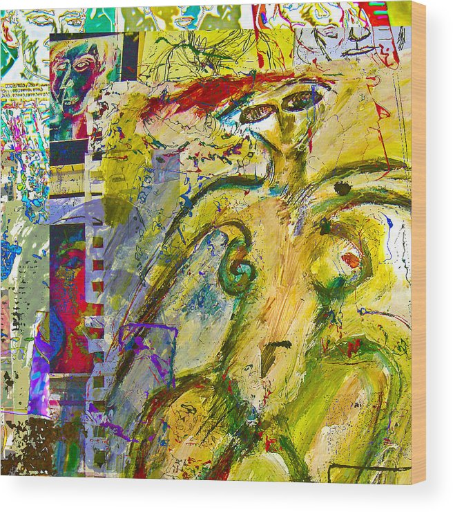 Collage Wood Print featuring the painting Doodle 4 by Noredin Morgan