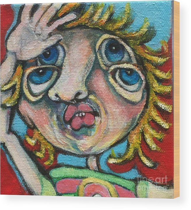 Ircle Head Art Wood Print featuring the painting Double Vision by Michelle Spiziri