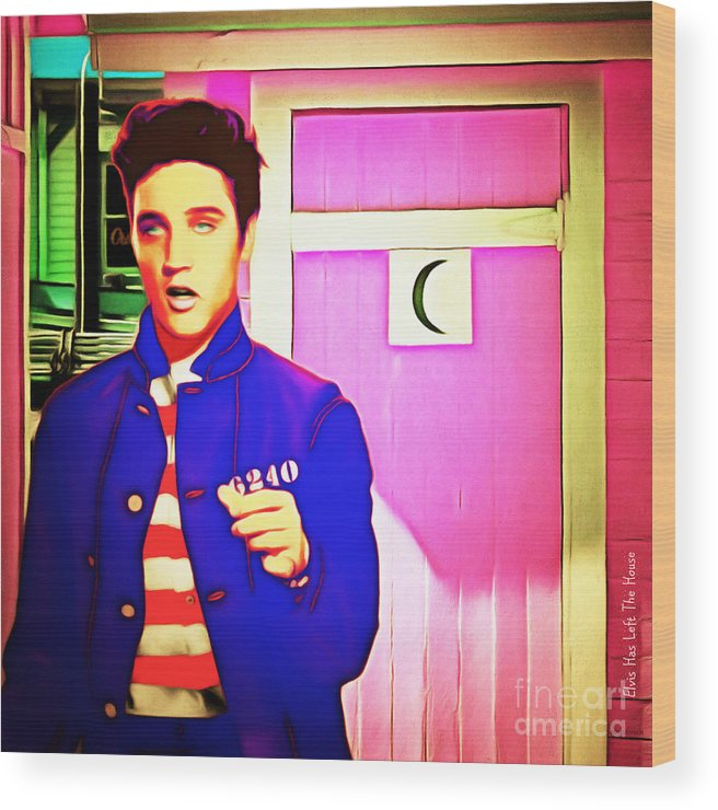 Elvis Presley Wood Print featuring the photograph Elvis Has Left The House 20151225 Square by Wingsdomain Art and Photography