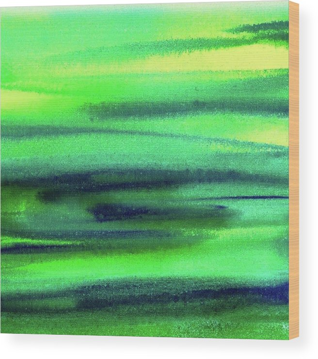 Emerald Wood Print featuring the painting Emerald Flow Abstract Painting by Irina Sztukowski