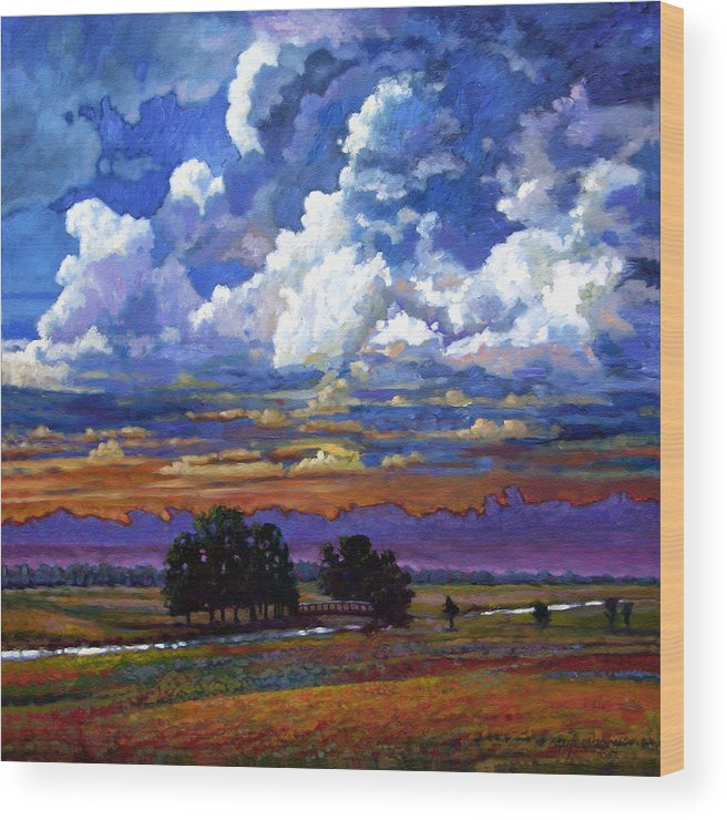 Landscape Wood Print featuring the painting Evening Clouds Over The Prairie by John Lautermilch