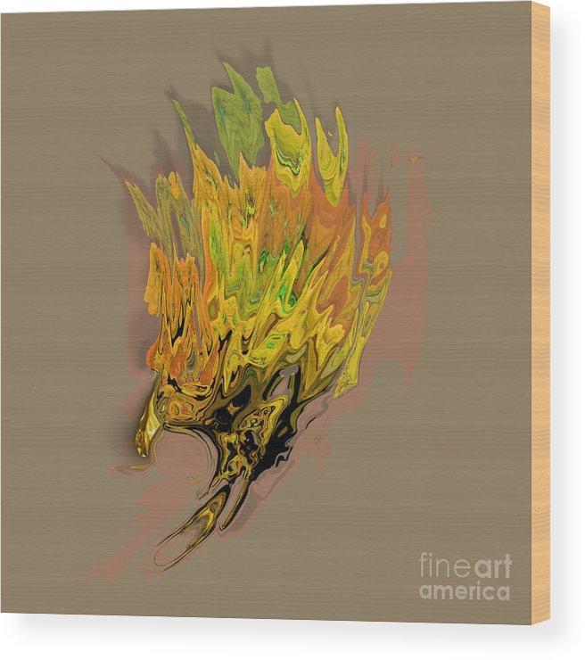 Falcon Wood Print featuring the digital art Falcon Fire by Ayesha DeLorenzo