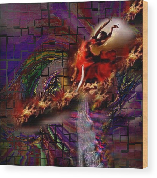 Jesus Wood Print featuring the digital art Fire Dancer-glory Realms by Spirit Dove Durand