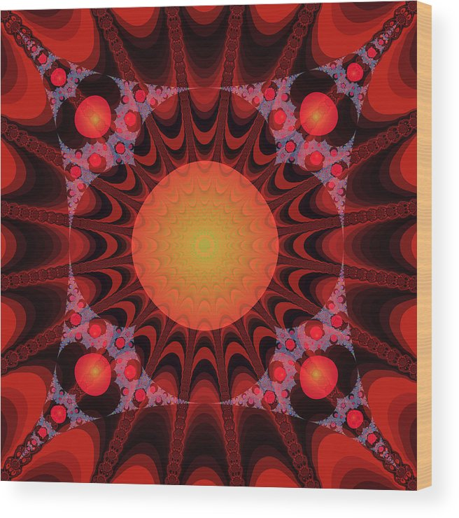 Fractal Wood Print featuring the digital art Flaming Sol by Frederic Durville