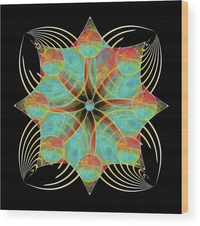Abstract Wood Print featuring the digital art Fleuron Composition No. 170 by Alan Bennington