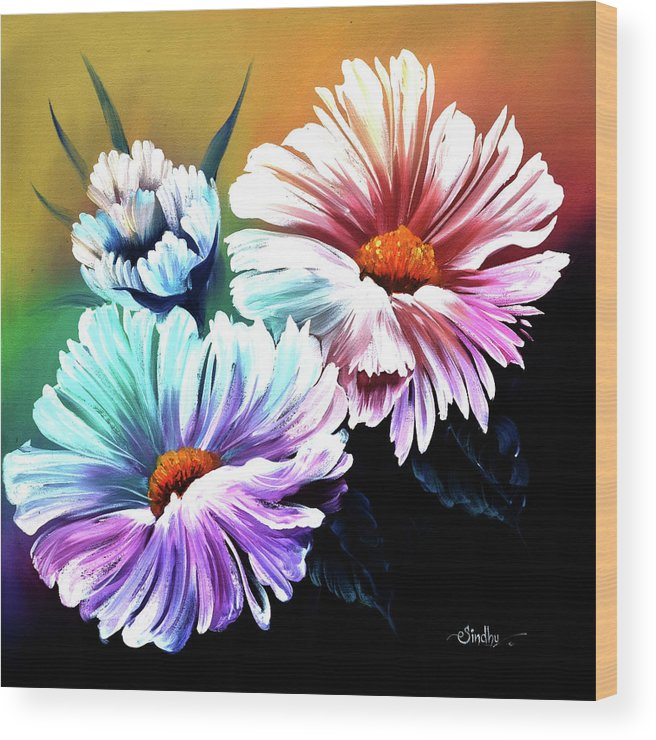 Flower Wood Print featuring the painting Flower by Sindhumathi Subramanian