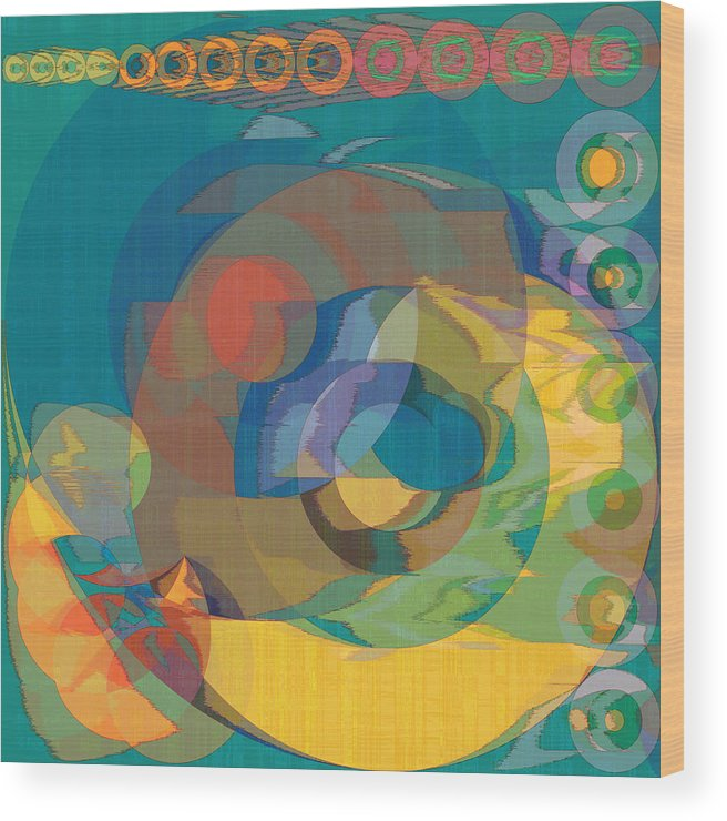 Abstract Wood Print featuring the digital art Follow The Sun by Gae Helton