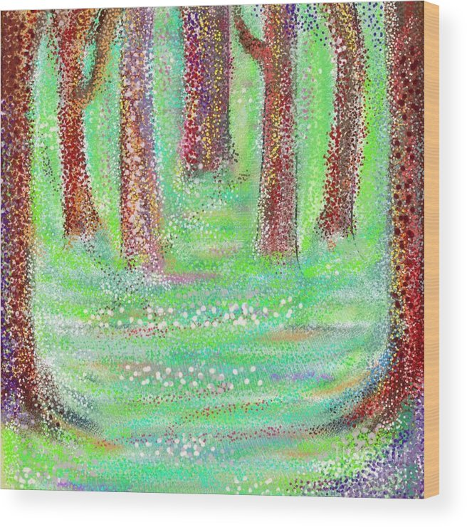 Abstract Wood Print featuring the digital art Forest View by Chris Dippel