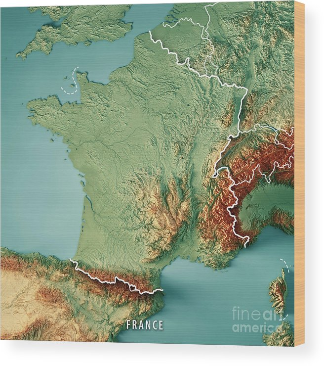France Country 3d Render Topographic Map Border Wood Print By Frank