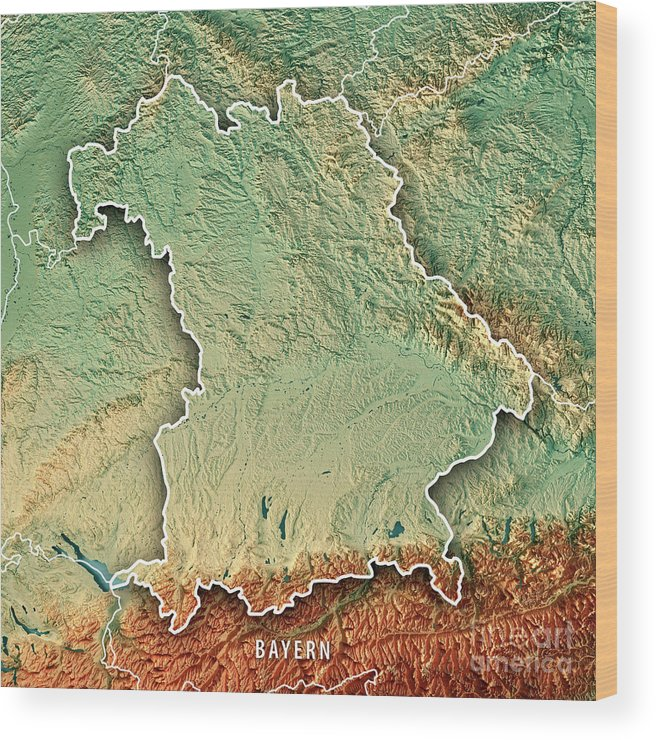 Map Of Germany To Print.Free State Of Bavaria Germany 3d Render Topographic Map Border Wood Print