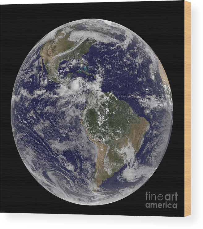 Earth Wood Print featuring the photograph Full Earth Showing North America by Stocktrek Images