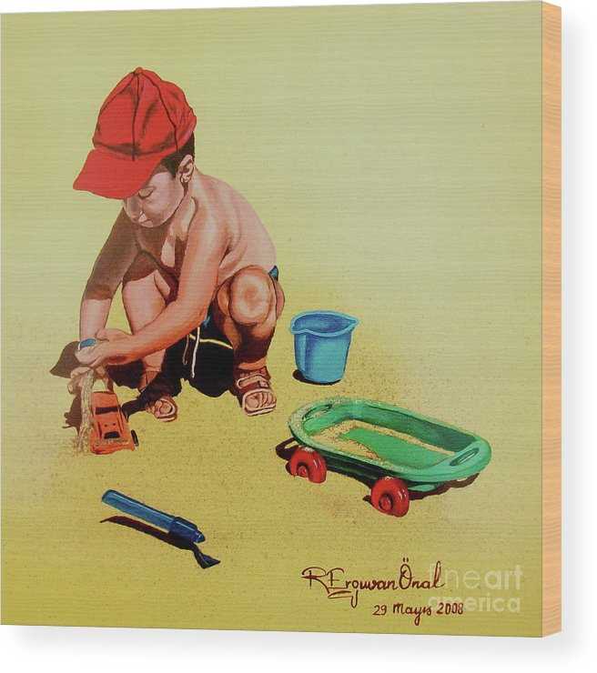 Beach Wood Print featuring the painting Game At The Beach - Juego En La Playa by Rezzan Erguvan-Onal