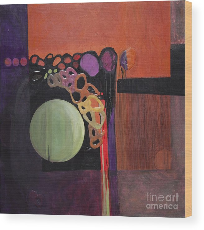 Abstract Wood Print featuring the painting Globular by Marlene Burns