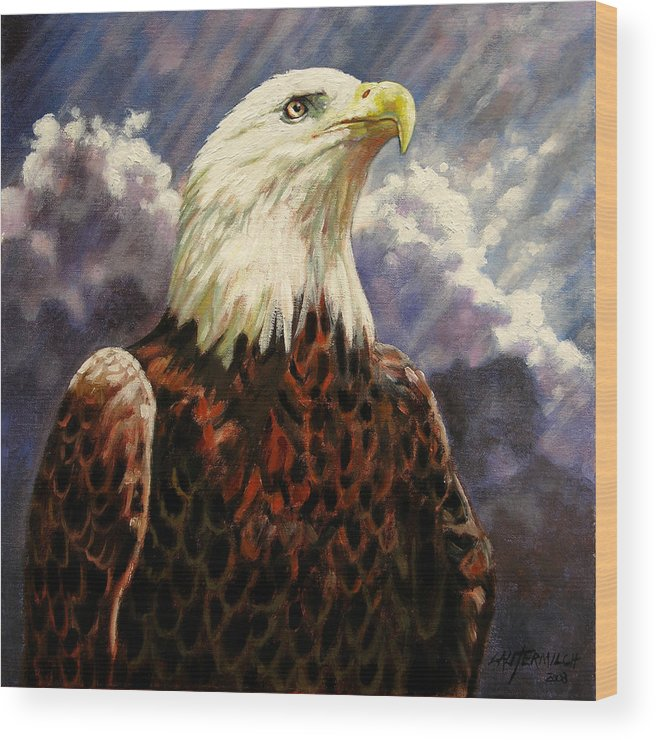 American Bald Eagle Wood Print featuring the painting God Bless America by John Lautermilch