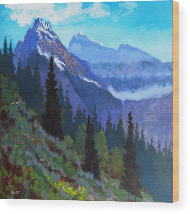 Glacier Wood Print featuring the painting Going To The Sun Road by Robert Bissett