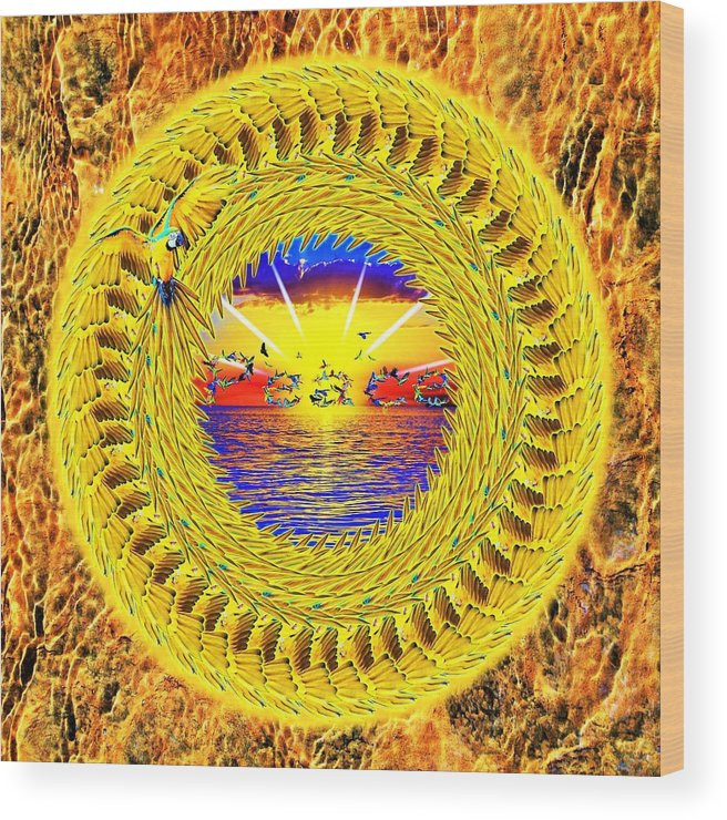 Golden Wood Print featuring the digital art Golden Parrot Mandala by The Awakening Art