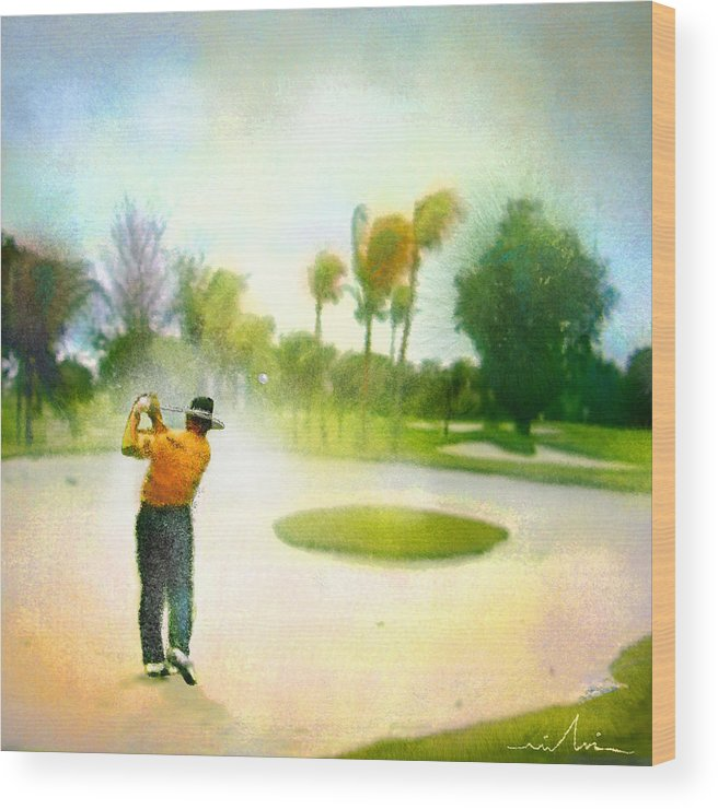 Golf Wood Print featuring the painting Golf At The Blue Monster In Doral Florida 02 by Miki De Goodaboom