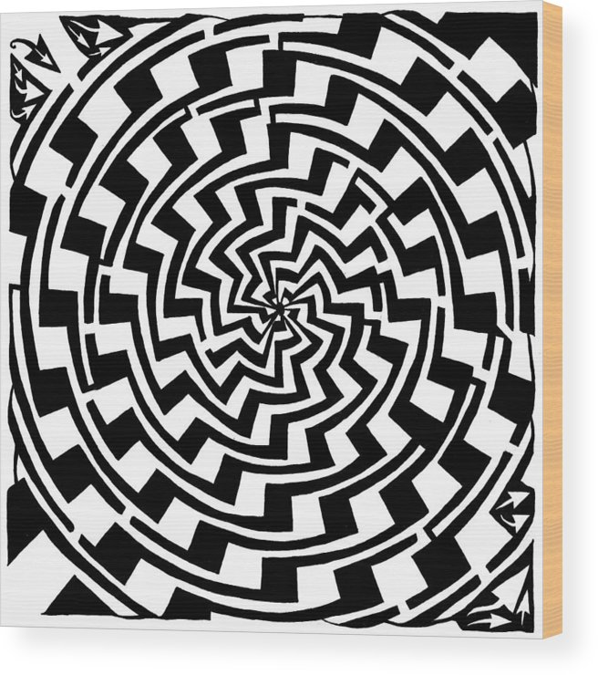 Gradient Wood Print featuring the drawing Gradient Tunnel Spin Maze by Yonatan Frimer Maze Artist