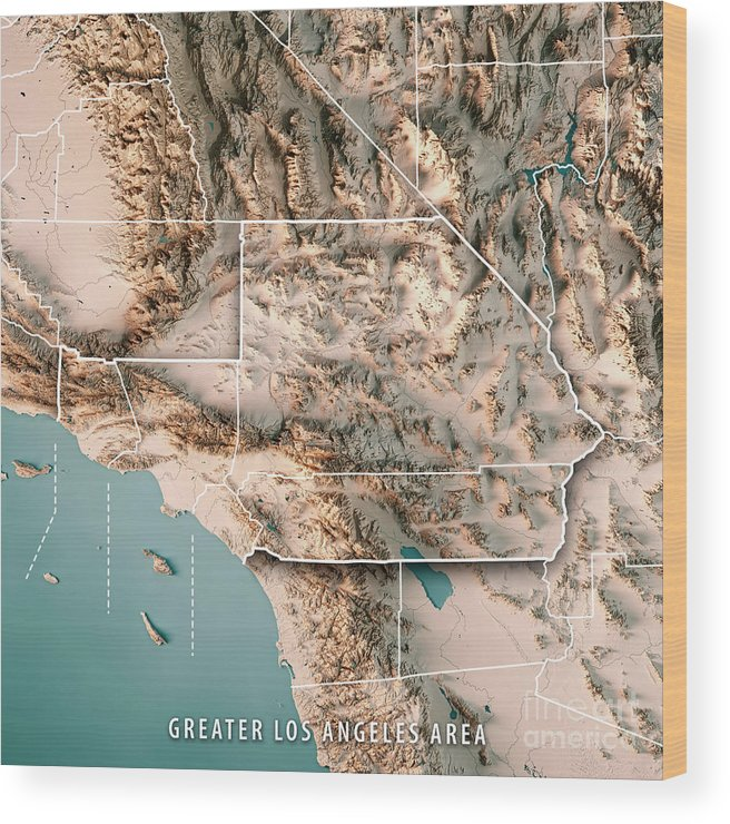 Greater Los Angeles Area Usa 3d Render Topographic Map Neutral B