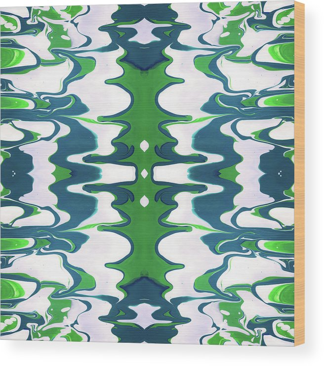 Fluid Wood Print featuring the mixed media Green And Blue Swirl- Art By Linda Woods by Linda Woods