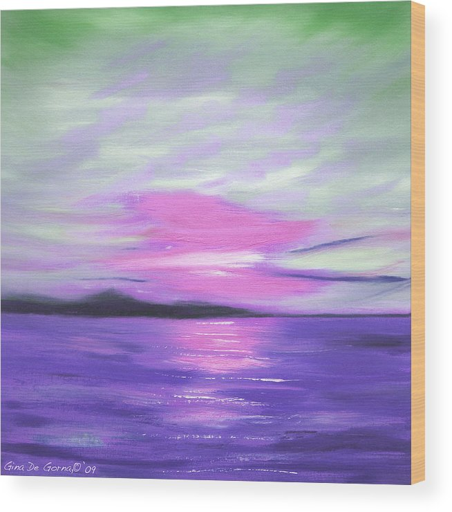 Green Wood Print featuring the painting Green Skies And Purple Seas Sunset by Gina De Gorna