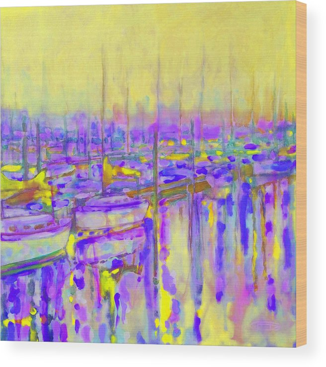 Harbor Wood Print featuring the painting Harbor Sunrise II Seven Am by Kip Decker