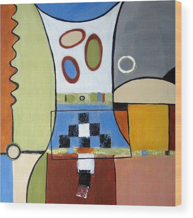 Abstract Wood Print featuring the painting Headspin by Ruth Palmer